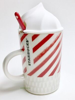 Starbucks Mug Candy Cane Stripes Whipped Cream Top Lid with Red Spoon New - Candy Cane Spoons