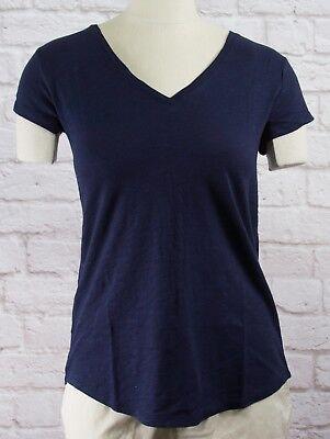 Nwt Womens Gap Short Sleeve Easy V Neck T Shirt Navy Uniform   803966