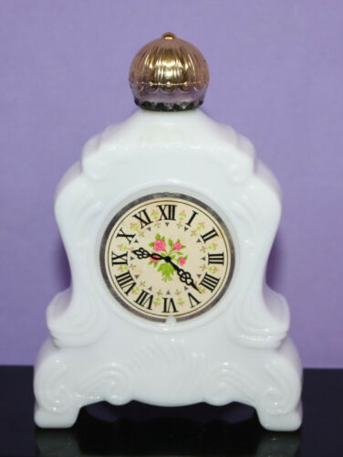 Vintage Avon Milk Glass Mantle Clock ~ Brocade Foaming Bath Oil ~ 5 fl. oz. Full