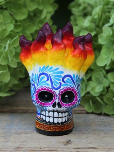 Sm Flaming Sugar Skull Day of the Dead Handmade Hand Painted Mexican Folk Art