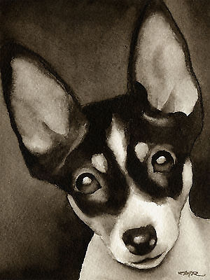 Toy Fox Terrier Art Print Sepia Watercolor Painting by Artist DJR