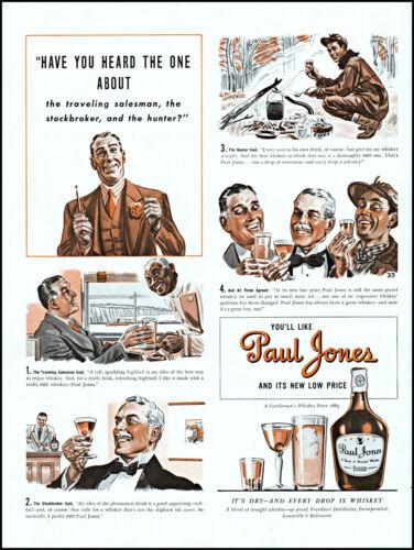 1940 Salesman Hunter Stockbroker Paul Jones Whiskey vintage art print ad L77