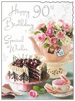 Female 90th 90 Happy Birthday Card ~ Luxury Modern Card ~ Made In UK