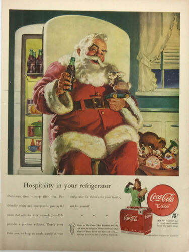 Coca Cola Santa Claus Coke Christmas Soda Pop Magazine Print Ad Vintage 1947