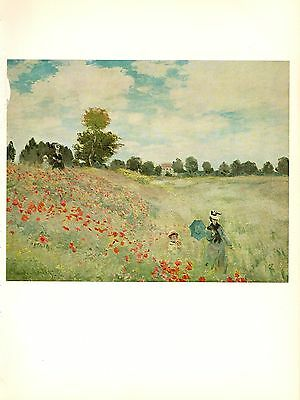 "1960 Vintage MONET ""WILD POPPIES"" COLOR offset Lithograph"