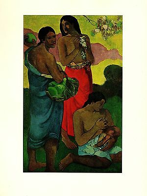 "1972 Vintage GAUGUIN ""MATERNITY"" BREASTFEEDING TAHITI COLOR offset Lithograph"