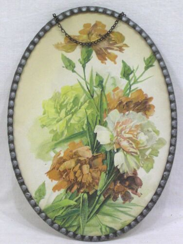 "Vintage Flue Cover Oval wth Pink Yellow Carnations Made in Germany  6 1/2"" X 9"""