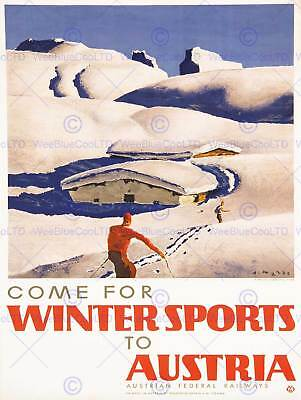 TRAVEL TOURISM WINTER SPORT SKI SNOW NORWAY SKIER ART PRINT POSTER BB10025