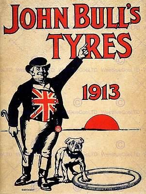 ADVERT JOHN BULL TYRES BULLDOG UK VINTAGE POSTER ART PRINT 806PY
