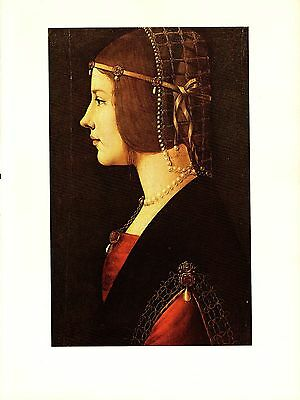 "1974 Vintage LEONARDO DA VINCI ""PORTRAIT OF A WOMAN"" COLOR offset Lithograph"