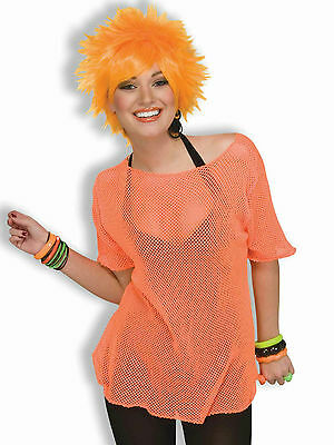 Woman's Rocker Neon Orange Mesh Costume Top 80's Punk Style - 80s Punk Rocker Costume