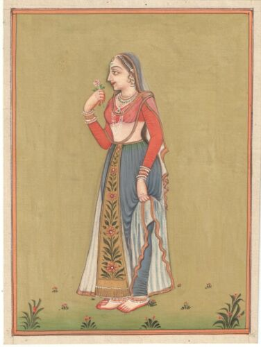 Indian+Miniature+Painting+Mughal+Moghul+Queen+Handmade+Indian+Art+Painting+Decor