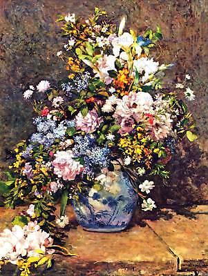 Pierre Auguste Renoir Still Life (PIERRE AUGUSTE RENOIR STILL LIFE WITH LARGE VASE OLD ART PAINTING PRINT 2518OMB)