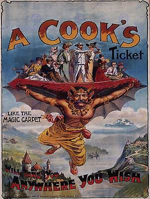 TRAVEL COOK MAGIC CARPET UK VINTAGE EDWARDIAN VINTAGE ADVERTISING POSTER 2360PY
