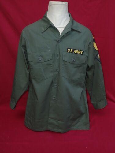 Vintage US Military Fatigue Utility Dura Press OG-507 Green Shirt 17 1/2 x 32