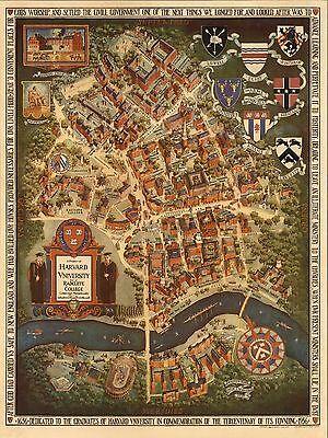 1935 Pictorial map Harvard University Radcliffe College Cambridge POSTER 8144000