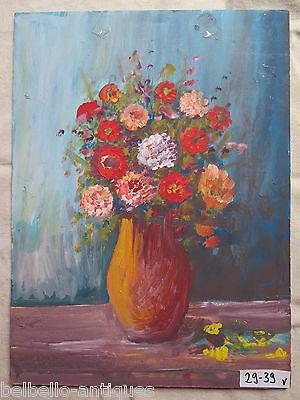 Antique Painting To oil On Board Of Taste Impressionist Blossom Floral V