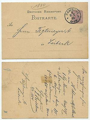 27869 - Ganzsache P 10 - Postkarte - Hamburg 8.5.1880 nach Lübeck