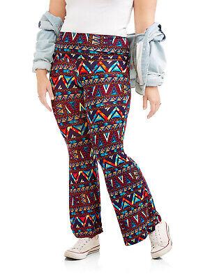 - NEW Juniors Plus Eye Candy Tribal Print Soft Knit Foldover Waist Flare Pants 1X