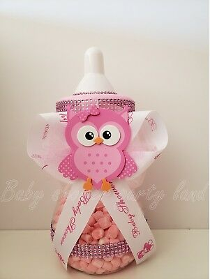 Baby Bottle Piggy Bank (Baby Shower Owl Centerpiece Baby Bottle Large cake topper Girl Decor Piggy)