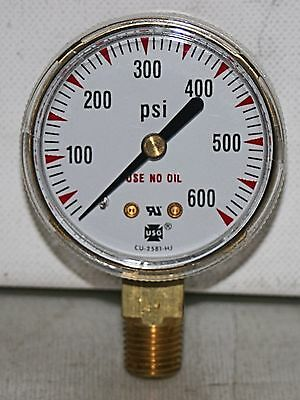 0-600 Psi 2 Dial 14npt Brass Pressure Gauge Ametek New