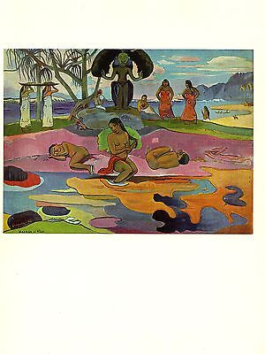 """1972 Vintage GAUGUIN """"THE DAY OF THE GOD"""" TAAROA MAORI COLOR offset Lithograph"""