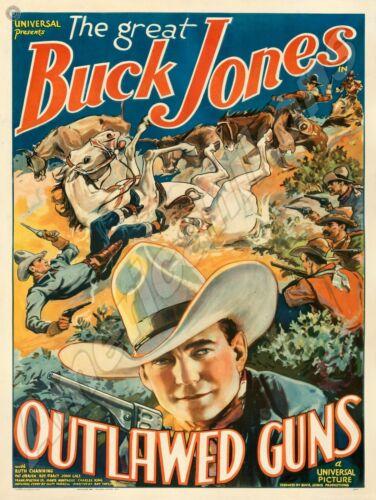 Buck Jones in Outlawed Guns NEW Metal Sign: Western/Cowboy Movie Room Sign