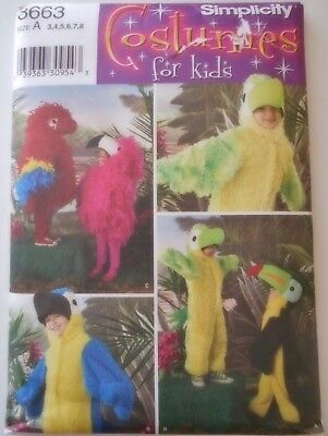 FF UNCUT Simplicity Sewing Pattern #3663 Kids Costumes Sz 3-8 Parrot Bird Tucan  - Tucan Costume