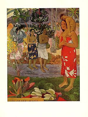 """1972 Vintage GAUGUIN """"WE GREET THEE, MARY"""" TAHITI LOVELY COLOR offset Lithograph"""