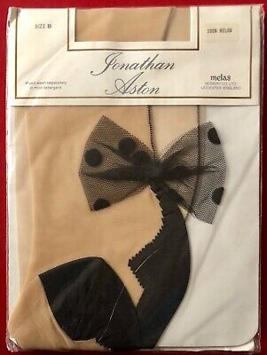 Jonathan Aston Contrast Seam N Heel Bow Tights Pantyhose Champagne-Black size B