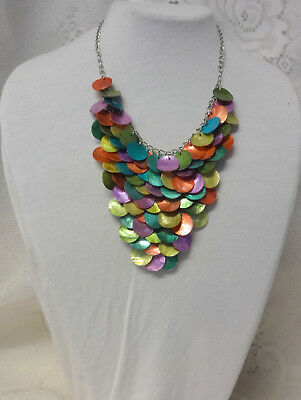 (Stunning Mother OF Pearl Handmade Multi Color Mesh Chunky Briolette Bib Necklace)