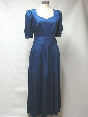 TRUE VINTAGE LAURA ASHLEY ROYAL BLUE DRESS PUFFED SLEEVES LOW BACK UK 14