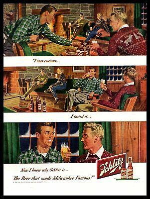 1949 Schlitz Beer Bottles Ski Lodge Winter Cabin Fireplace Vintage Print Ad