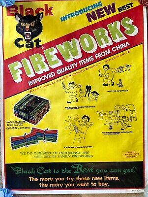 Vintage Black Cat Fireworks Advertising Poster Smoke Crackers