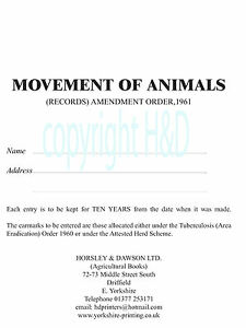 Cattle Movement Book