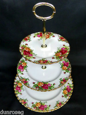 OLD COUNTRY ROSES 3-TIER CAKE STAND, GOOD CONDITION, ENGLAND, ROYAL ALBERT