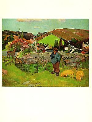 """1972 Vintage GAUGUIN """"THE SWINEHERD, BRITTANY"""" GORGEOUS COLOR offset Lithograph"""