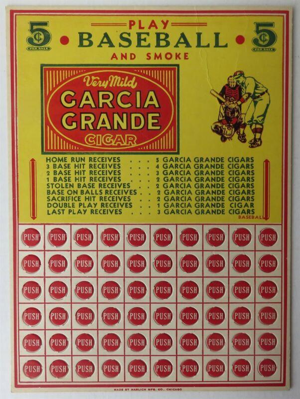 VINTAGE GARCIA GRANDE 5 CENT CIGAR BASEBALL ADVERTISING - UNPUNCHED   (INV33038)