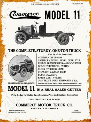 1924 Commerce Motor Trucks New Metal Sign: Model 11 -  Ypsilanti, Michigan