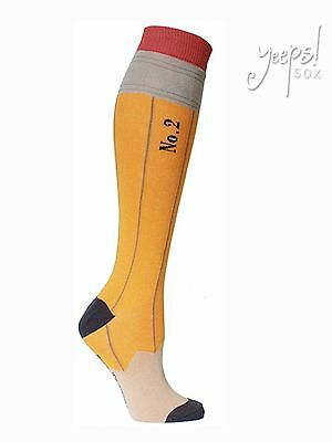 Pencil Knee High Socks - Foot Traffic Yellow Striped derby Socks teacher novelty](Yellow High Socks)