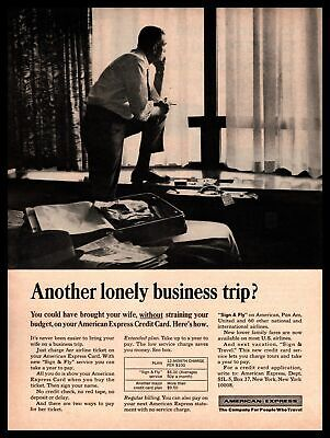 """1965 American Express Credit Card """"Another Lonely Business Trip?"""" Print Ad"""