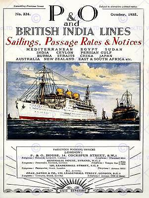 TRAVEL PACIFIC ORIENT P&O SAIL SHIP LONDON UK VINTAGE ADVERTISING POSTER 2465PY