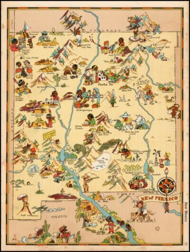 New Mexico 1935 pictorial map POSTER Ruth Taylor White 33486
