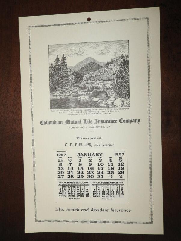 1957 Binghamton NY Columbian Mutual Insurance Co. Calendar: Whiteface Mountain