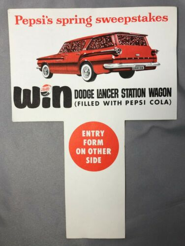 1960 PEPSI COLA 6-Pack Insert DODGE LANCER STATION WAGON Car Vintage Advertising