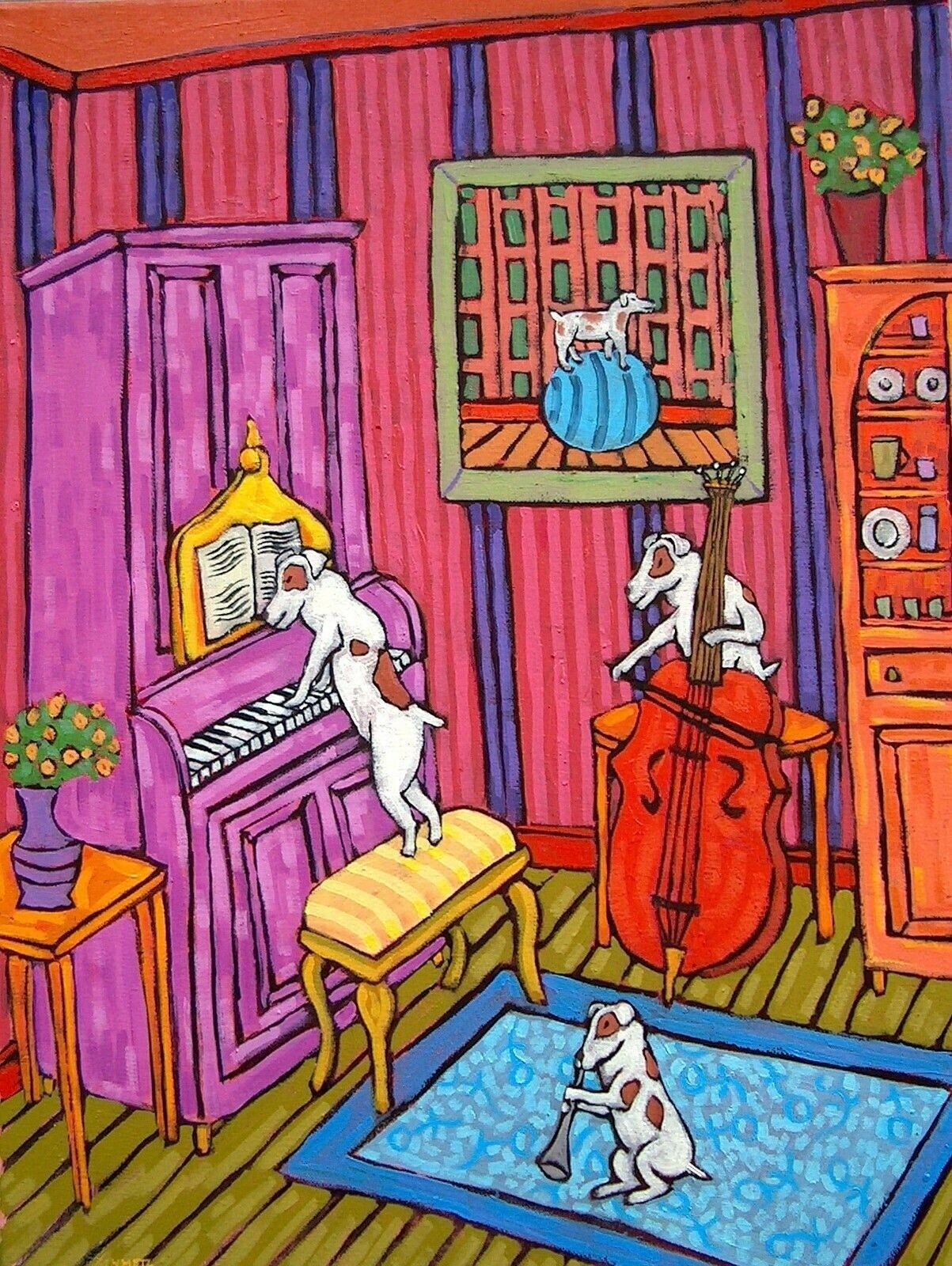JACK RUSSELL TERRIER piano concert  13x19  DOG ART  GLOSSY PRINT