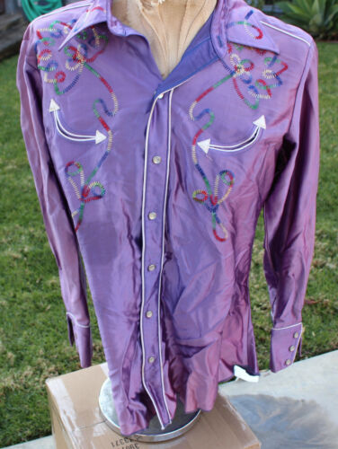 H Bar C California Ranchwear Purple Embroidered Pearl Snap Western Rodeo Shirt