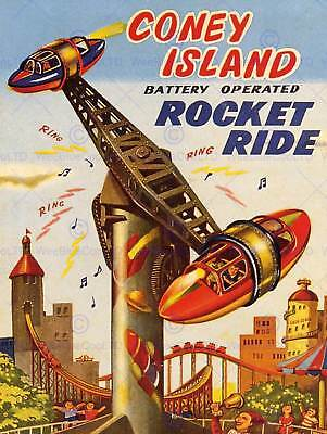 ADVERT TOY FAIRGROUND RIDE CONEY ISLAND ROCKET RIDE CHILDREN USA POSTER BB7139 for sale  Shipping to Canada