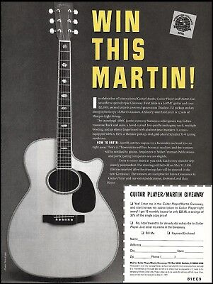 Martin J-40MC acoustic guitar 1991 contest giveaway 8 x 11 entry form ad print (Musical Instrument Giveaways)