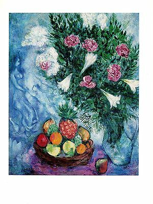 "1972 Vintage MARC CHAGALL ""FRUITS AND FLOWERS"" GORGEOUS COLOR offset Lithograph"